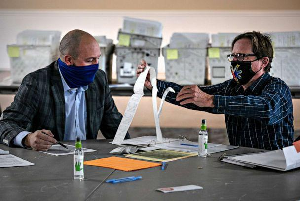 PHOTO: Republican canvasser Anthony Markwort, left, and Democrat Ted Dawson look over ballot tabulator tapes on Nov. 04, 2020, in Mason, Mich. (John Moore/Getty Images)