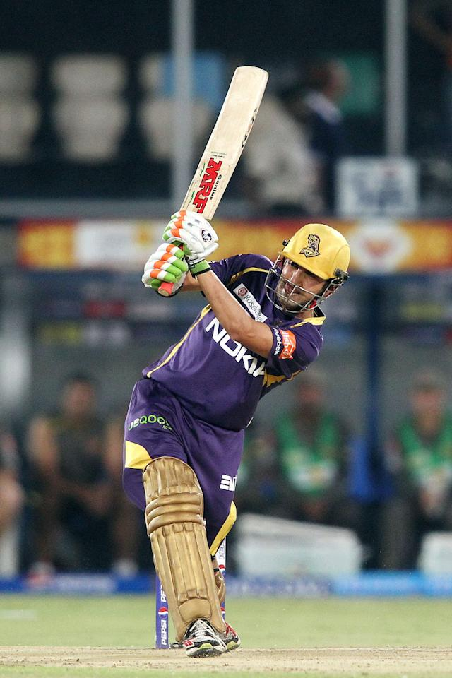 Kolkata Knight Riders captain Gautam Gambhir plays a delivery through the leg side during match 72 of the Pepsi Indian Premier League between The Sunrisers Hyderabad and The Kolkata Knight Riders held at the Rajiv Gandhi International Stadium, Hyderabad on the 19th May 2013. (BCCI)