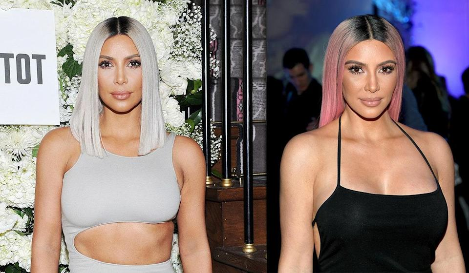 Although she's played with platinum in the past, Kardashian West rarely breaks away from her signature dark hair. However, in spring 2019 she went for bright pink, putting the color back in the spotlight after some collective pastel-hair fatigue.