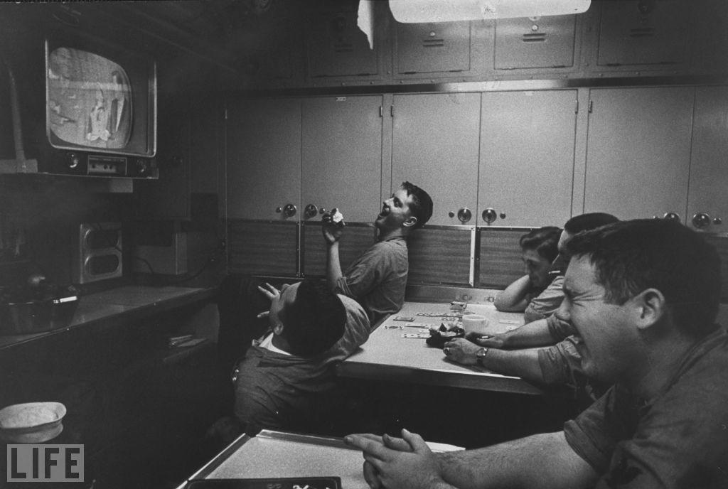 Men at a submarine base and school in Connecticut watch The Ed Sullivan Show.  Fritz Goro./Time & Life Pictures/Getty Images