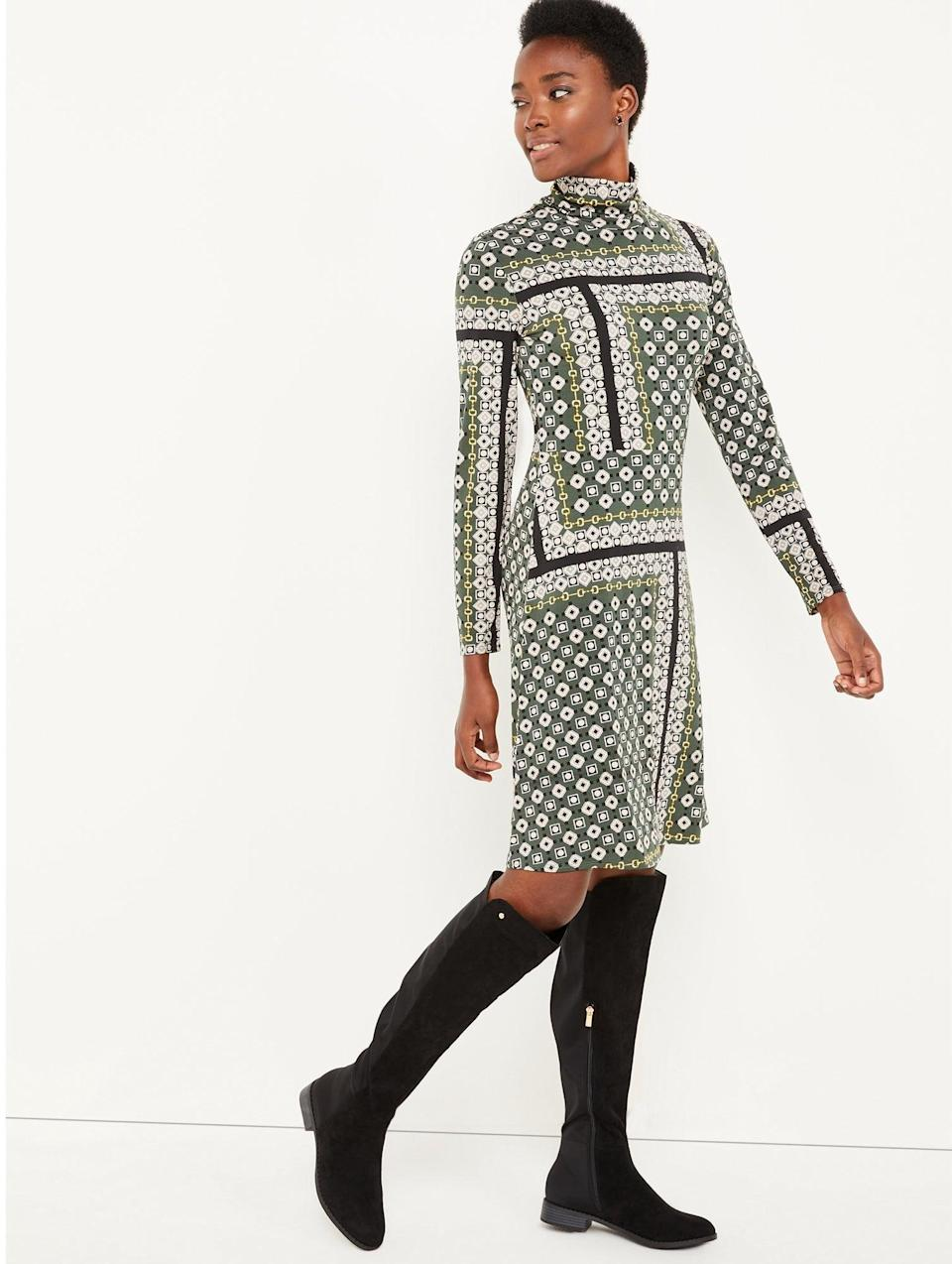 <p>The biggest benefit to wearing a long-sleeved turtleneck dress is that all you have to do to complete the look is accessorize! Our pick for fall is the <span>C. Wonder Women's Print Turtleneck Dress with Long Sleeves</span> ($45) that will look incredible with tall black boots.</p>
