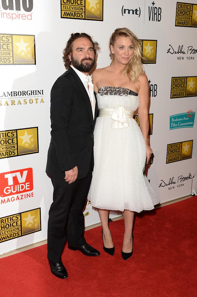 LOS ANGELES, CA - JUNE 10:  Actors Johnny Galecki and Kaley Cuoco arrive at Broadcast Television Journalists Association's third annual Critics' Choice Television Awards at The Beverly Hilton Hotel on June 10, 2013 in Beverly Hills, California.  (Photo by Jason Merritt/Getty Images)