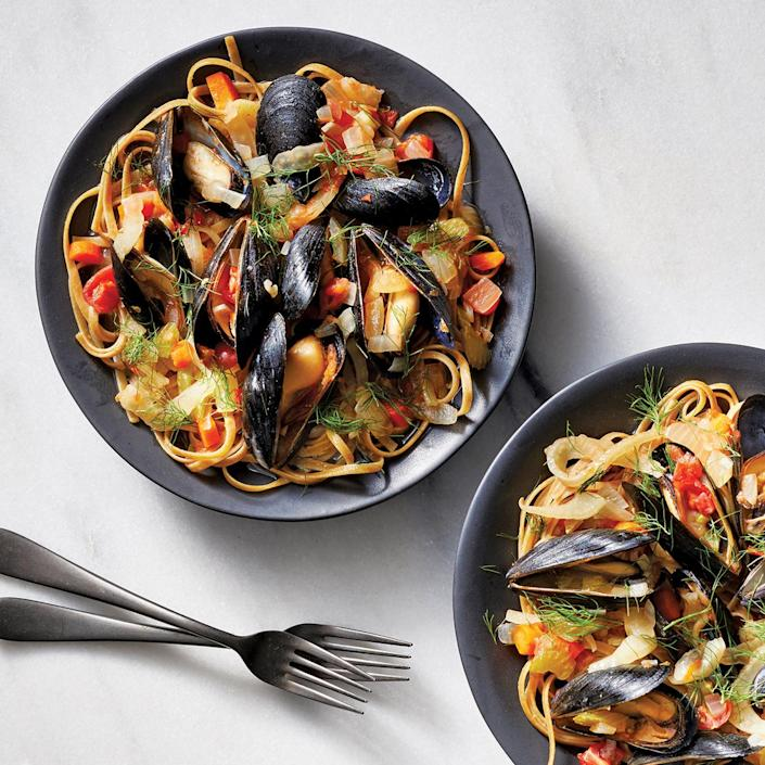 <p>Cooking mussels in a slow cooker? You bet! It's the right tool for building the rich and spicy broth in which these shellfish cook to perfection. Use the freshest mussels you can find, and have the fishmonger clean them for you.</p>
