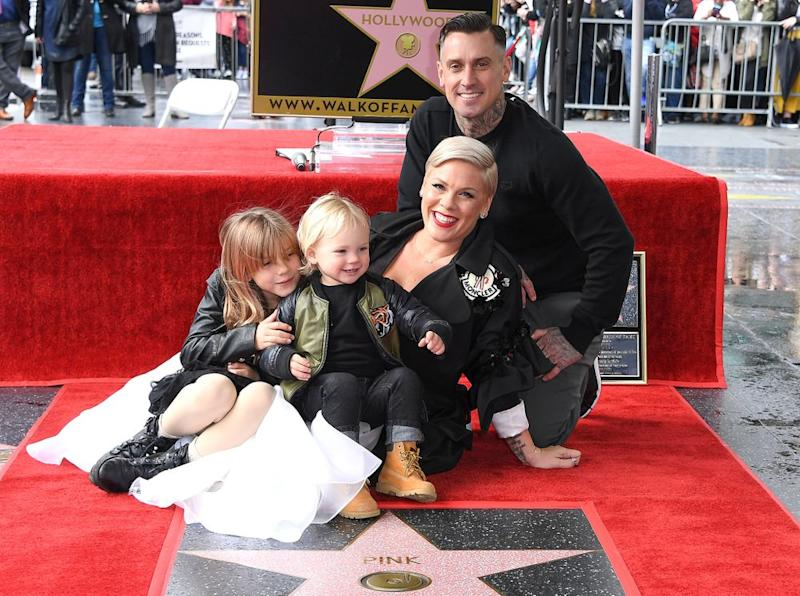 Pink poses with husband Carey Hart and kids Willow and Jameson