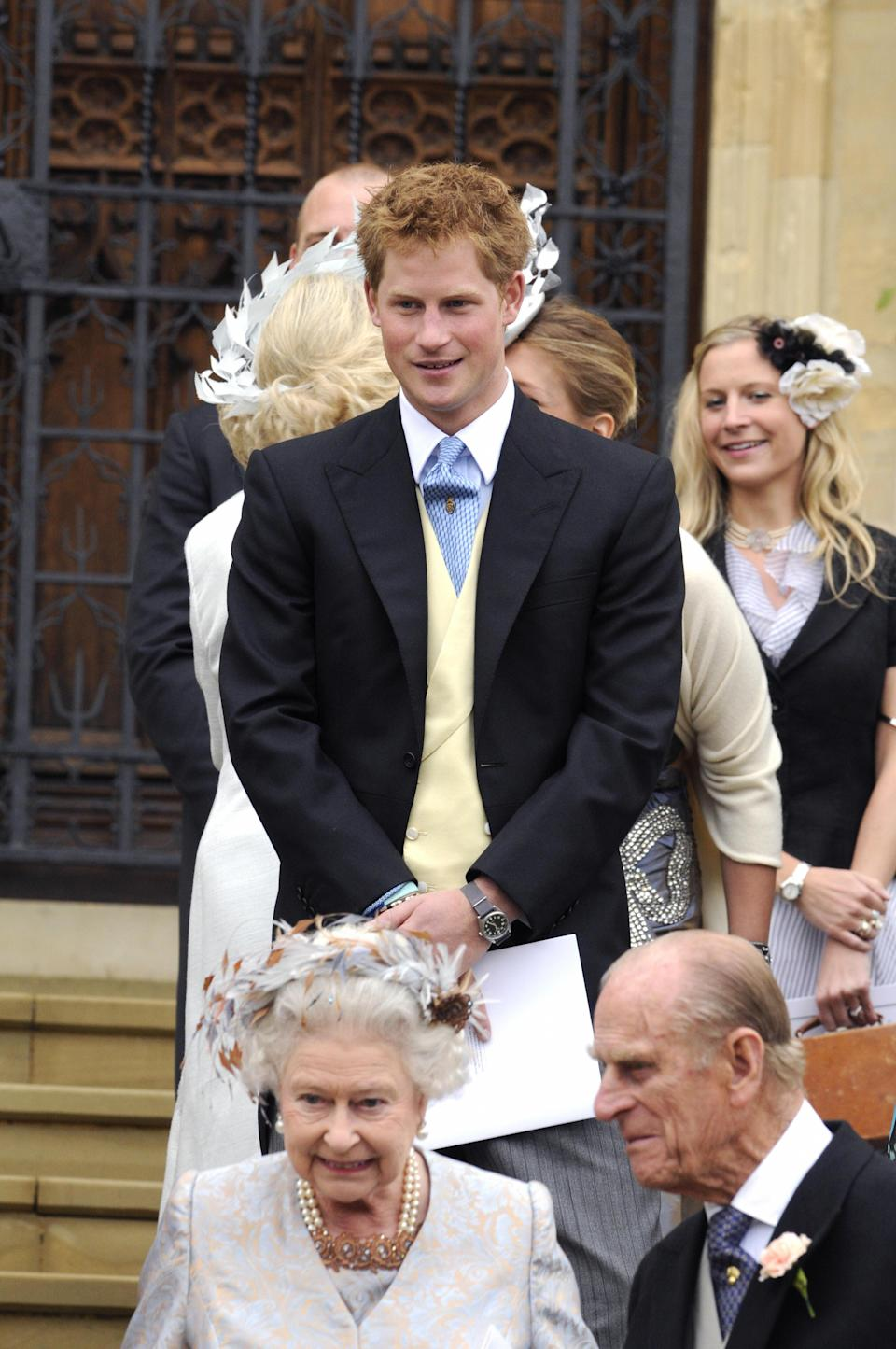 Prince Harry at Peter Phillips and Autumn Kelly's wedding in May 2008 [Photo: Getty]