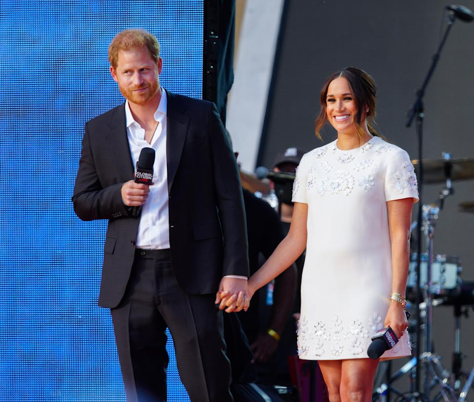 Prince Harry and Meghan Markle speak on stage at Global Citizen Live: New York on September 25, 2021 in New York City. (Photo by Gotham/WireImage)