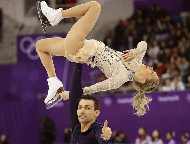 Alexa (top) and Chris Knierim during their short program in the team figure skating event at the 2018 Winter Olympics