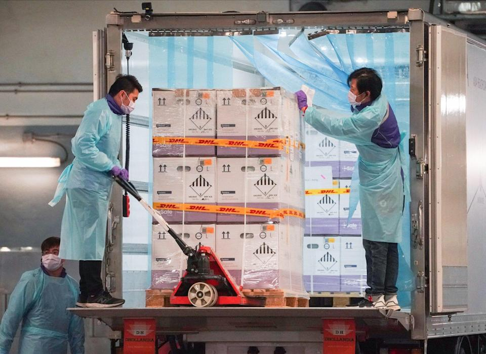 The first shipment of the Pfizer-BioNTech vaccine arrives in Hong Kong in February. Photo: Felix Wong