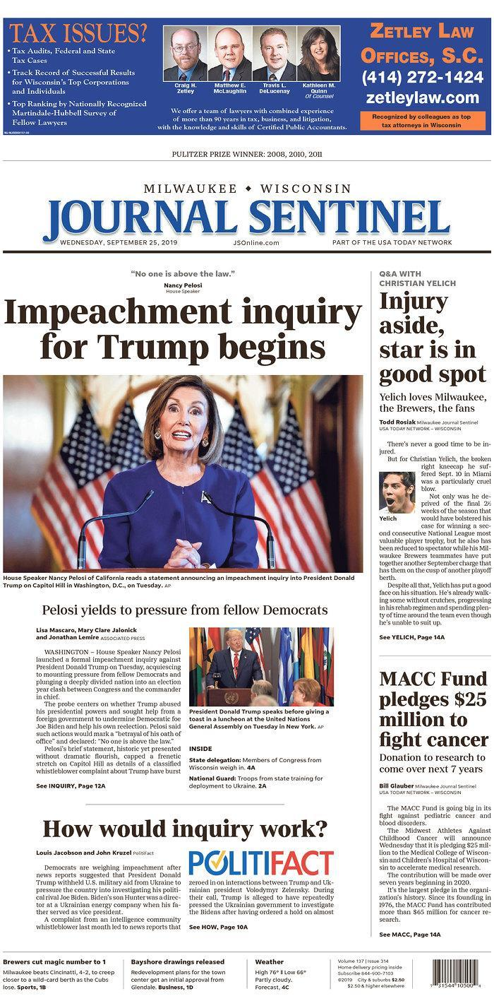 Impeachment inquiry for Trump begins Milwaukee Journal Sentinel Published in Milwaukee, Wis. USA. (newseum.org)
