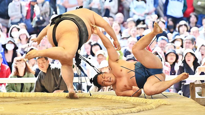Sumo wrestlers, pictured here taking part in a ceremonial sumo exhibition in 2019.