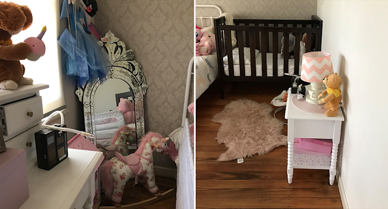 Two photos of children's bedrooms with soft toys and a rocking horse.