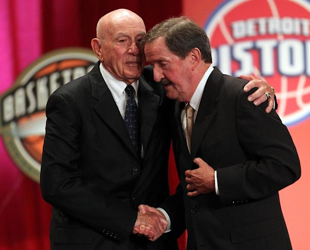SPRINGFIELD, MA - AUGUST 12: Herb Magee shakes hands with Hall of Fame Coach Dr. Jack Ramsay during the Basketball Hall of Fame Enshrinement Ceremony at Symphony Hall on August 12, 2011 in Springfield, Massachusetts. (Photo by Jim Rogash/Getty Images)