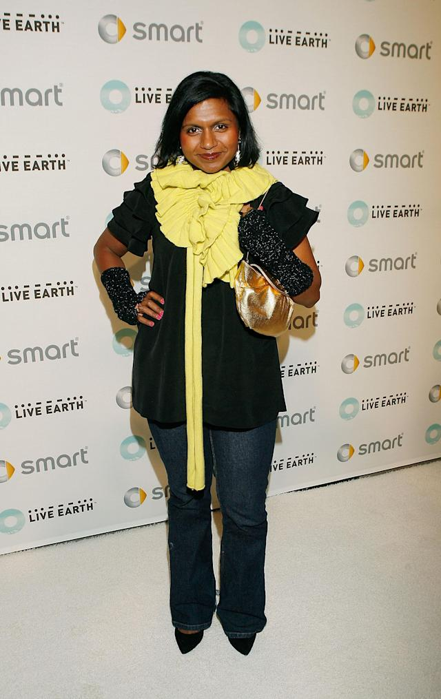 "VENICE, CA - FEBRUARY 19: Actress Mindy Kaling attends a celebration of Hollywood's environmental advocates hosted by Live Earth and smart, makers of the fuel efficient ""fortwo"" green car, at the smart house on February 19, 2008 in Venice, California. (Photo by Vince Bucci/Getty Images)"