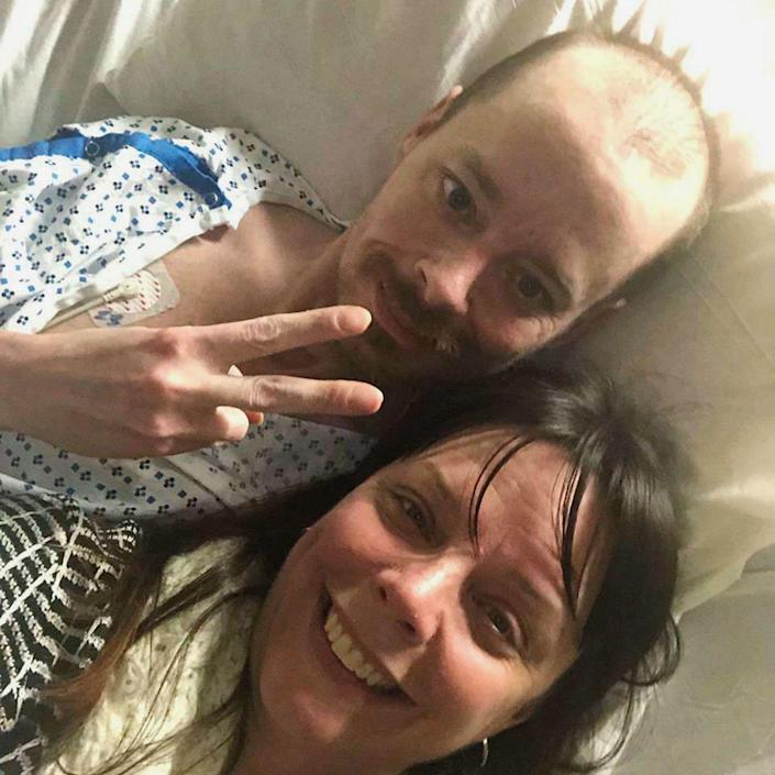 In this Feb. 26, 2019, selfie provided by Bridgette Hoskie, her brother Jay Barrett and herself pose for the photo inside an ICU at Yale New Haven Hospital in New Haven, Conn. () ORG XMIT: RPRK201