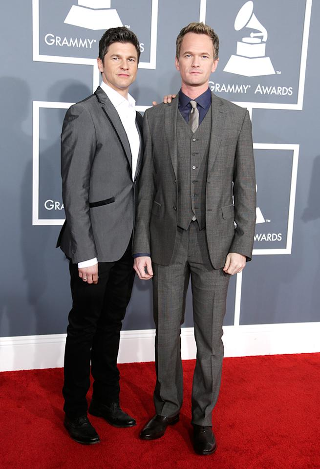 Neil Patrick Harris (R) and David Burtka arrive at the 55th Annual Grammy Awards at the Staples Center in Los Angeles, CA on February 10, 2013.