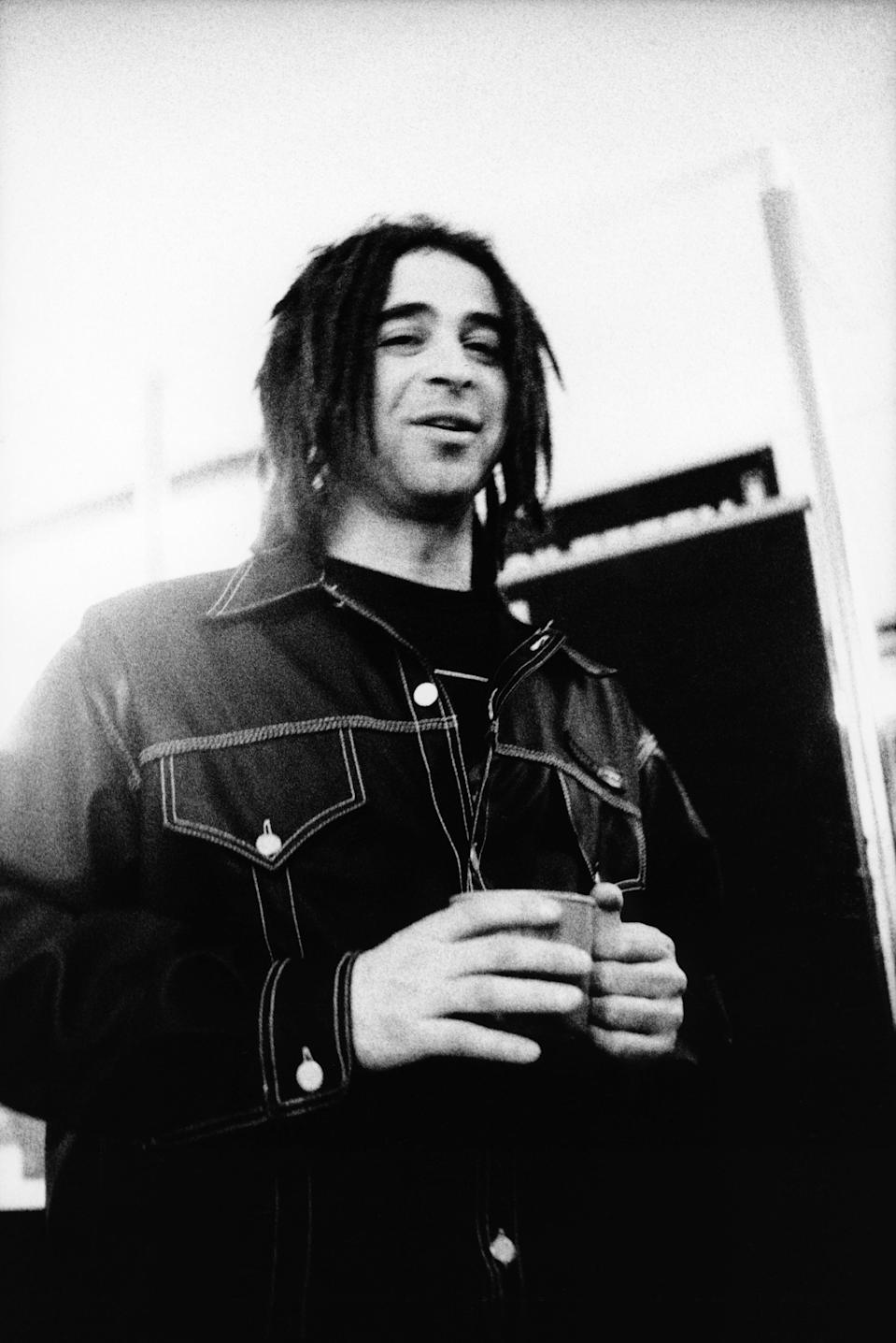 Adam Duritz singer with American band Counting Crows backstage in the Netherlands in 1994