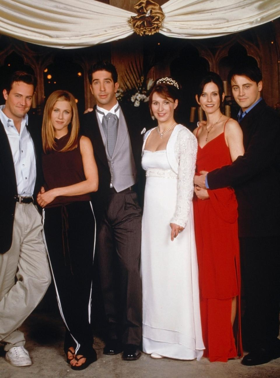 The Friends cast relocated to London to film Ross and Emily's wedding in 1998 (Photo: NBC via Getty Images)