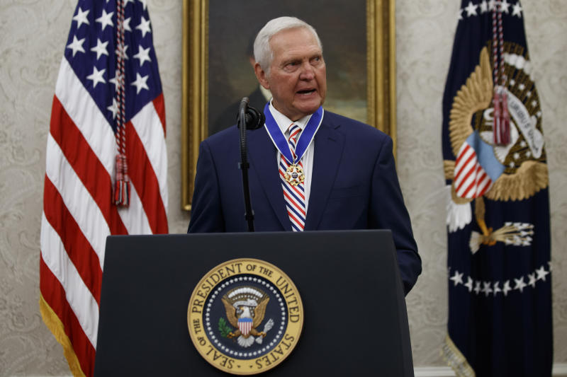 Former NBA basketball player and general manager Jerry West speaks after receiving the Presidential Medal of Freedom from President Donald Trump, in the Oval Office of the White House, Thursday, Sept. 5, 2019, in Washington. (AP Photo/Alex Brandon)