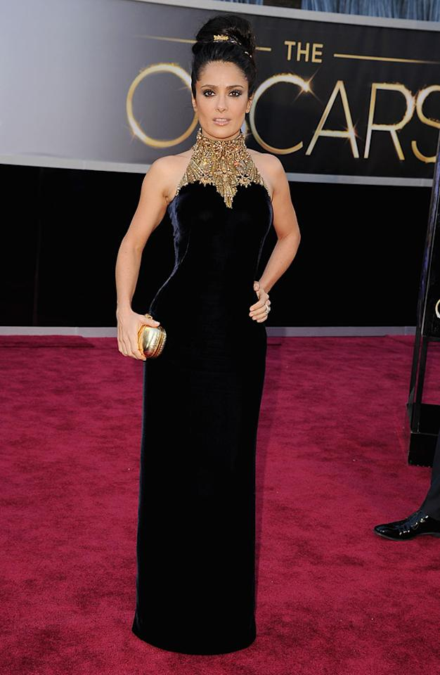 Salma Hayek arrives at the Oscars in Hollywood, California, on February 24, 2013.