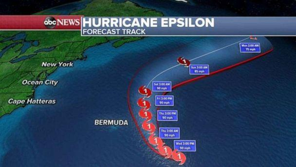 PHOTO: Epsilon is forecast to move east of Bermuda, only bringing gusty winds and some rain to the island with no major impacts expected and no direct threat to the U.S.  (ABC News)