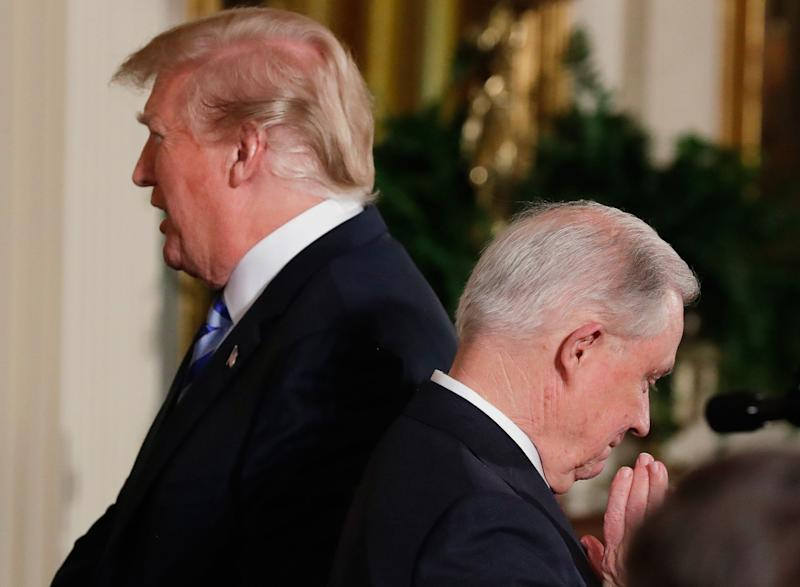 President Donald Trump and Attorney General Jeff Sessions. Trump has repeatedly criticized Sessions for stepping aside from any Justice Department matters related to Russian interference in the 2016 presidential election.