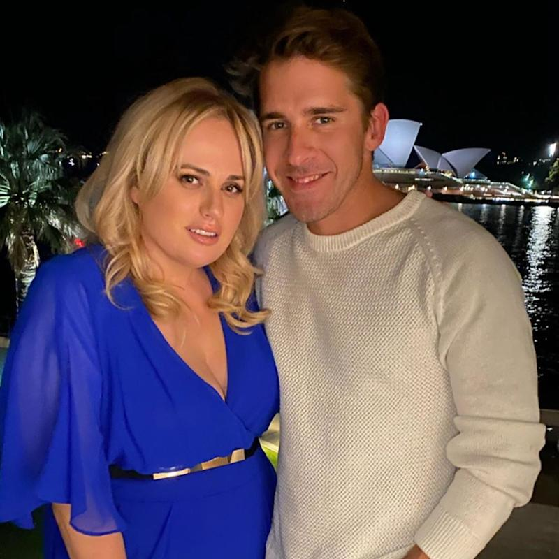 Hugh Sheridan and Rebel Wilson in front of the Opera House