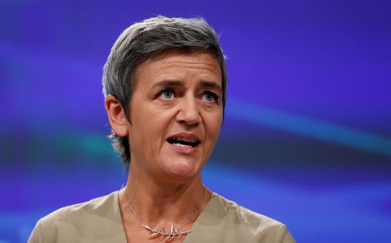 FILE PHOTO: EU Competition Commissioner Vestager holds a news conference in Brussels