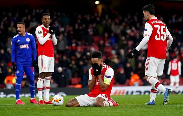 Aubameyang missed a late chance as Arsenal were knocked out of the Europa League (John Walton/PA)