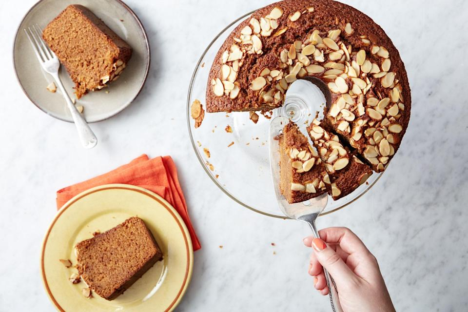 "This recipe is a remarkably moist, lightly spiced, coffee- and whiskey-scented take on the Rosh Hashanah classic, but it's so good we'll be making it throughout the fall. <a href=""https://www.epicurious.com/recipes/food/views/majestic-and-moist-new-years-honey-cake-350153?mbid=synd_yahoo_rss"" rel=""nofollow noopener"" target=""_blank"" data-ylk=""slk:See recipe."" class=""link rapid-noclick-resp"">See recipe.</a>"