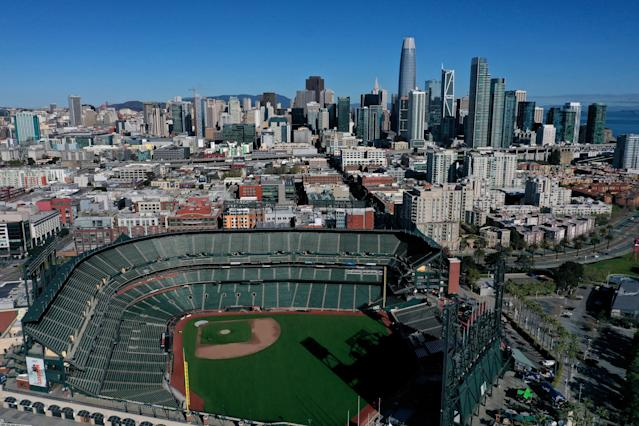 """The <a class=""""link rapid-noclick-resp"""" href=""""/mlb/teams/san-francisco/"""" data-ylk=""""slk:San Francisco Giants"""">San Francisco Giants</a> are one of five teams that play in California, one of several states that experienced record daily spikes of coronavirus cases in the past week. (Photo by Justin Sullivan/Getty Images)"""