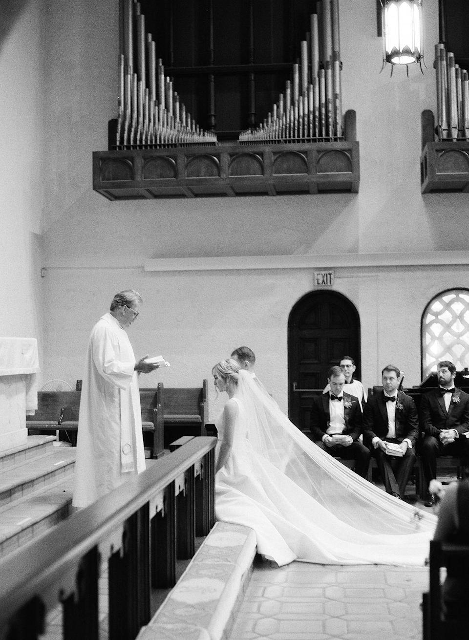<p>The couple had two attendants read Colossians 3:12-17 and John 15:9-12 during the ceremony. As part of the ceremony, the couple took a private Eucharist with their parents in the small chapel.</p>