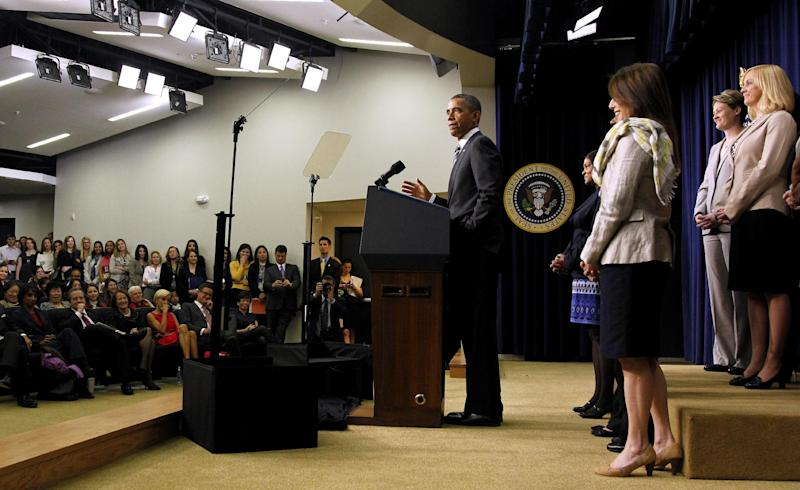 President Barack Obama speaks at the White House Forum on Women and the Economy, Friday, April 6, 2012, in the South Court Auditorium of the Eisenhower Executive Office Building on the White House complex in Washington. (AP Photo/ Haraz N. Ghanbari)