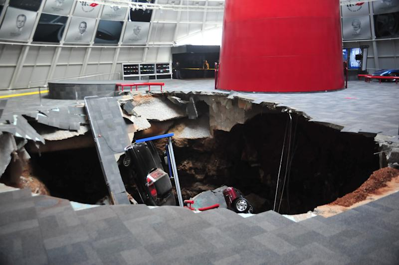 National Corvette Museum photo shows a sink hole that swallowed eight Corvettes in Bowling Green, Kentucky in this image released to Reuters on February 12, 2014. REUTERS/National Corvette Museum/Handout (UNITED STATES - Tags: TRANSPORT DISASTER TPX IMAGES OF THE DAY) NO COMMERCIAL OR BOOK SALES. NO SALES. NO ARCHIVES. FOR EDITORIAL USE ONLY. NOT FOR SALE FOR MARKETING OR ADVERTISING CAMPAIGNS. THIS IMAGE HAS BEEN SUPPLIED BY A THIRD PARTY. IT IS DISTRIBUTED, EXACTLY AS RECEIVED BY REUTERS, AS A SERVICE TO CLIENTS