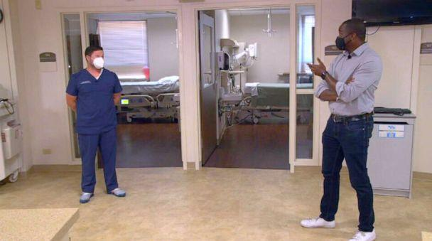 PHOTO: Marcus Moore speaks with Dr. Kevin Langlois at Willis-Knighton Hospital in Shreveport, Louisiana. (ABC News)