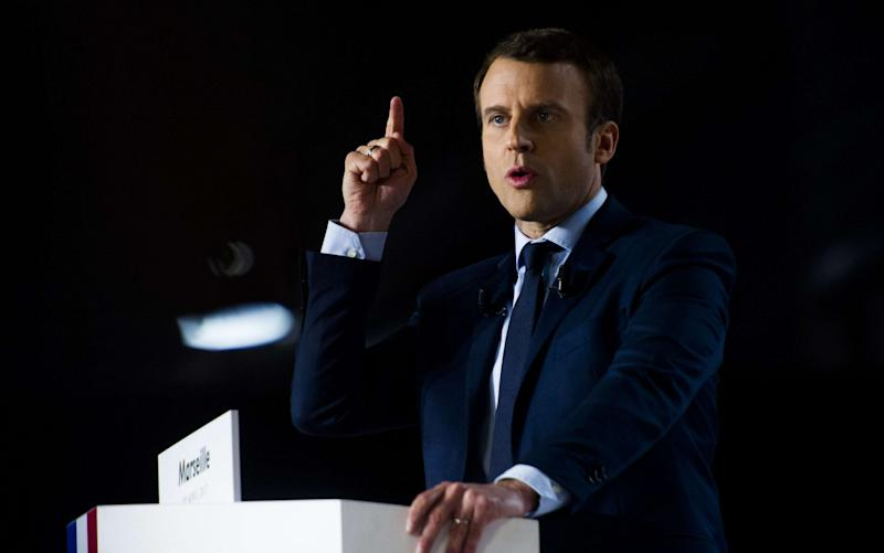 "Emmanuel Macron has accused Russia of targeting him with ""fake news"" - Credit: LILIAN AUFFRET/SIPA/REX/Shutterstock"