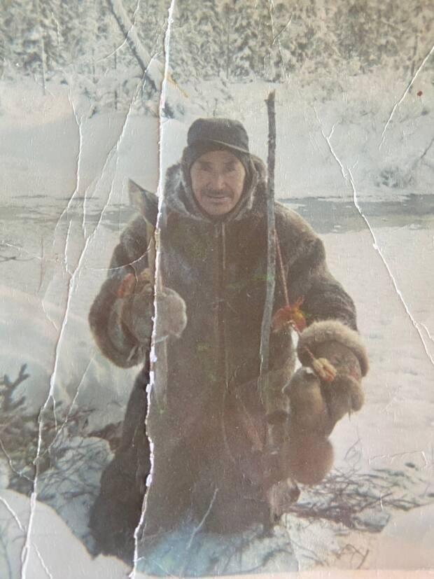 Shawna Yamkovy's late grandfather Maurice Lockhart, posing in the snow.
