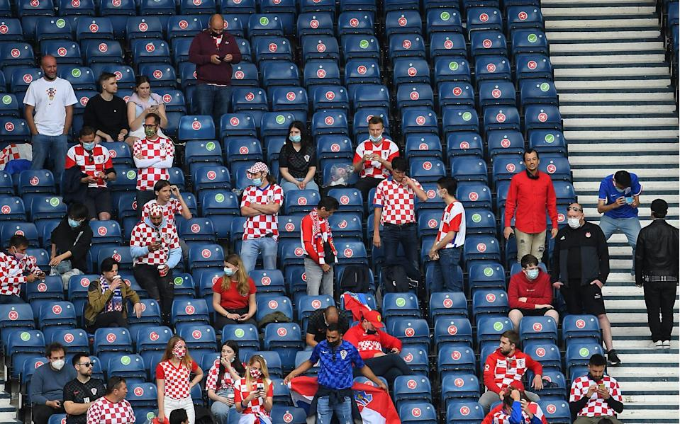 Croatia fans are seen in the stands prior to the UEFA EURO 2020 group D preliminary round soccer match between Croatia and the Czech Republic in Glasgow, Britain, 18 June 2021. Group D Croatia vs Czech Republic, Glasgow, United Kingdom - Andy Buchanan/POOL/EPA-EFE/Shutterstock