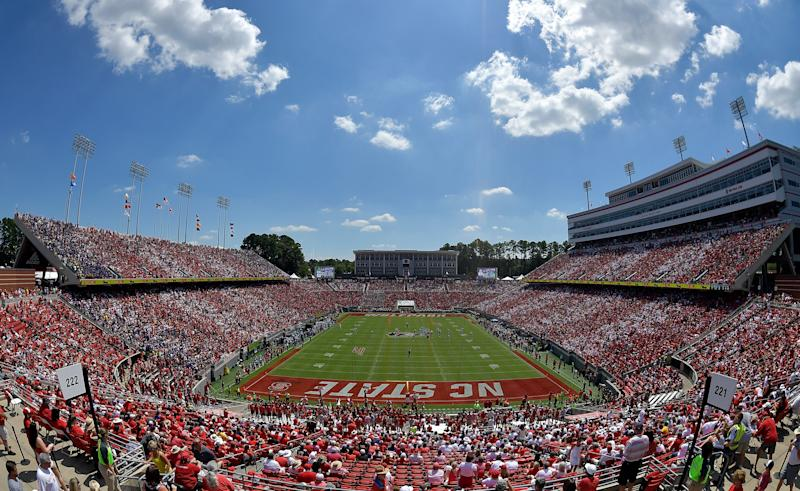 RALEIGH, NORTH CAROLINA - AUGUST 31: General view of the game between the North Carolina State Wolfpack and the East Carolina Pirates at Carter-Finley Stadium on August 31, 2019 in Raleigh, North Carolina. (Photo by Grant Halverson/Getty Images)