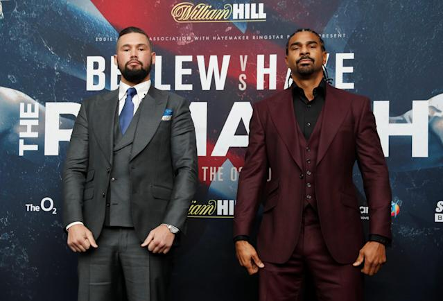 Boxing - Tony Bellew & David Haye Press Conference - London, Britain - February 21, 2018 Tony Bellew and David Haye pose after the press conference Action Images via Reuters/Matthew Childs
