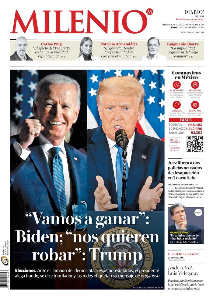 "PÚBLICO MILENIO, Published in Guadalajara, Mexico (Courtesy <a href=""https://www.newseum.org/todaysfrontpages/"" rel=""nofollow noopener"" target=""_blank"" data-ylk=""slk:Newseum"" class=""link rapid-noclick-resp"">Newseum</a>)"