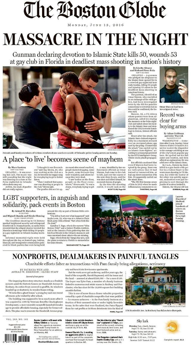 <p>The Boston Globe<br> Published in Boston, Mass. USA. (newseum.org) </p>