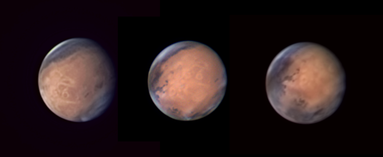 <p>A series photos of Mars taken between 1 June and 3 July 2016 showing Mount Olympus in three different positions. (Pic: Avani Soares) </p>