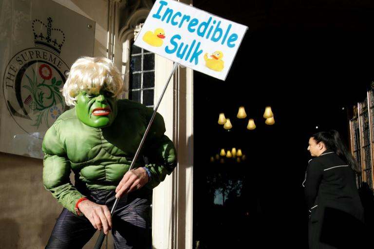 One protester was dressed as the Incredible Hulk -- a reference to an analogy made by Johnson between the comic book character and Britain as it prepares to leave the EU (AFP Photo/Tolga AKMEN)
