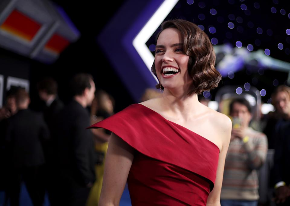 """Daisy Ridley at the premiere Of Disney's """"Star Wars: The Rise Of Skywalker"""" [Photo: Getty]"""