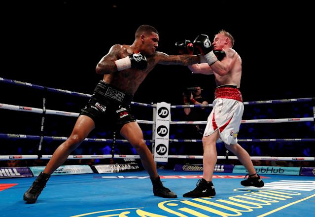 Boxing - Conor Benn v Chris Truman - Echo Arena, Liverpool, Britain - April 21, 2018 Conor Benn in action with Chris Truman Action Images via Reuters/Andrew Couldridge