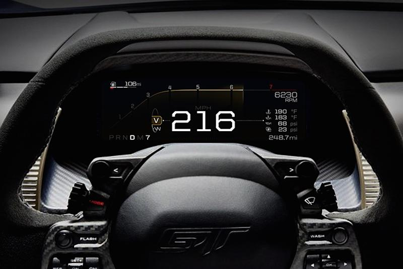 Ford Gt Supercar Has A Digital Dashboard Display For Any Driving Condition