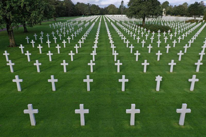 This file photograph taken on Oct. 16, 2018, shows Normandy American Cemetery close to Omaha Beach in Colleville-sur-Mer, on the Normandy coast, northwestern France. The 75th anniversary of the D-day landings will fall on June 6, 2019. (Photo by DAMIEN MEYER / AFP)DAMIEN MEYER/AFP/Getty Images ORIG FILE ID: AFP_1GA8WW