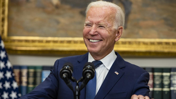 U.S. President Joe Biden speaks in the Roosevelt Room on the continuing situation in Afghanistan and the developments of Hurricane Henri at the White House on August 22, 2021 in Washington, DC. (Samuel Corum/Getty Images)