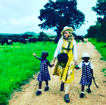 Madonna and her twin daughters
