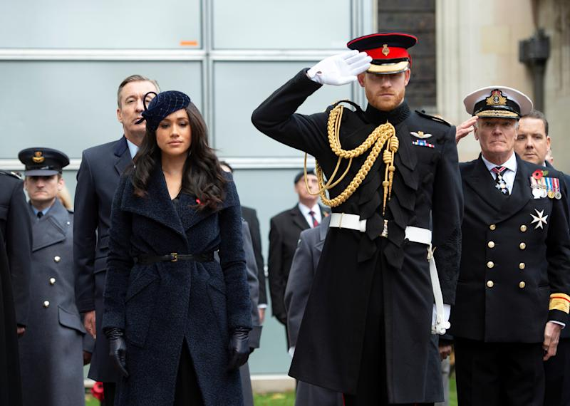 Britain's Prince Harry and Meghan, Duchess of Sussex attend the 91st Field of Remembrance at Westminster Abbey in London, Britain November 7, 2019. Geoff Pugh/Pool via REUTERS